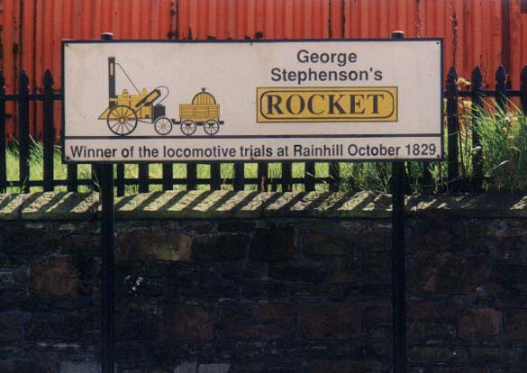 Sign commemorating the Rocket at Rainhill Station